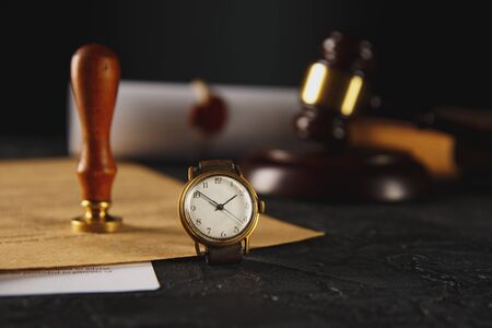 Notarys public pen and stamp on testament and last will. Notary public tools Stock Photo