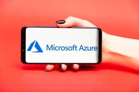 26 08 2019 Tula: Microsoft Azure on the phone display.