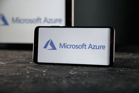 Tula 24 09 2019: Microsoft Azure on the tablet and phone display.