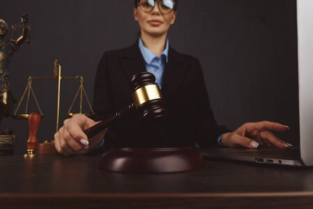 Judge gavel , books with attorney or lawyer provide legal advice and consoling to his clients in background. Divorce law ,Family law concept.