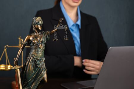 Lawyer business women working and notary signs the documents at office. consultant lawyer, justice and law ,attorney, court judge, concept Stock Photo