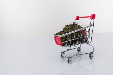 supermarket trolley marijuana medical cannabis cbd. Stock Photo