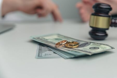 Legal money concept. Section dollars because of divorce