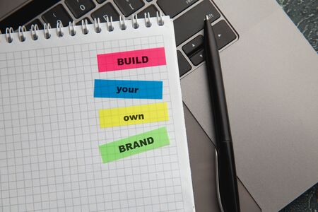 Build Your Own Brand text on colorful sticky notes. Personal development concept 版權商用圖片