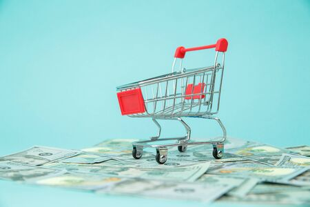 Money banknotes and shopping cart on blue background.Easy shopping with finger tips for consumers.Online shopping concept.