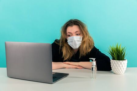 Stressed woman at home working remote.