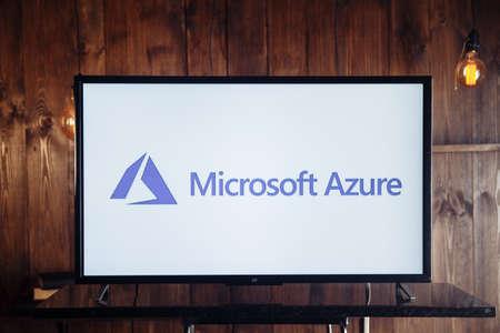 Tula, Russia, 04 May 2020: Microsoft Azure on the TV screen isolated. Redakční