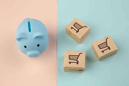 Delievery boxes and blue piggy bank on colorful bakground. Online shopping and delivery service concept Stockfoto