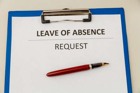 Personal leave ob absence statement form at the desk.