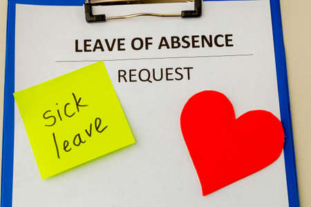 Leave of absence request statement form. Foto de archivo