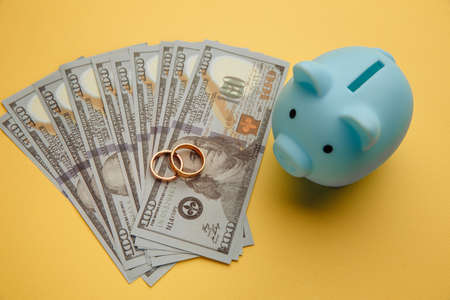 Save money for honeymoon, wedding trip. Blue piggy bank with rings on money banknotes on yellow background