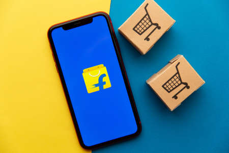 Tula, Russia - September 08, 2020: Flipkart logo on iPhone display