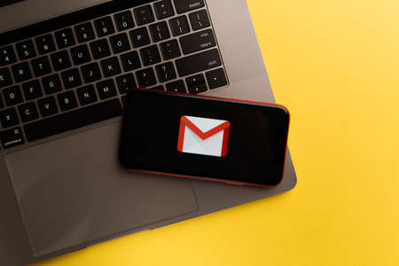 Tula, Russia - November 04, 2020: Gmail logo on iPhone display