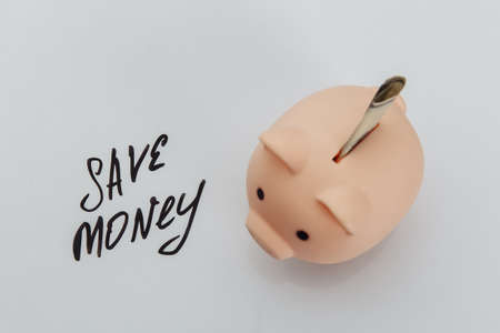 Savings in pink piggy bank and handwriting phrase