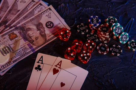 Online gambling сoncept. Money, cards and gambling chips