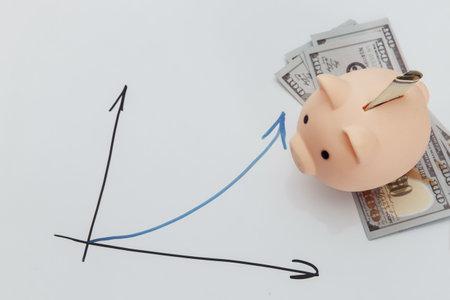 Piggy bank on dollar banknotes and growth chart 版權商用圖片 - 162029168