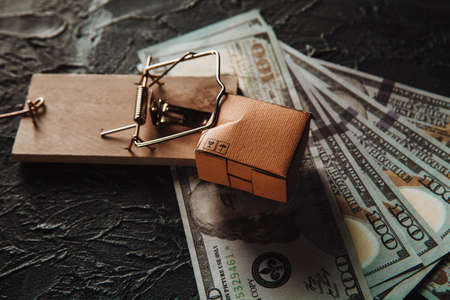 Delivery box, money and mousetrap, shopping addiction concept