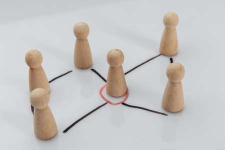 Manager and a team. Concept of teambuilding, leadership and management