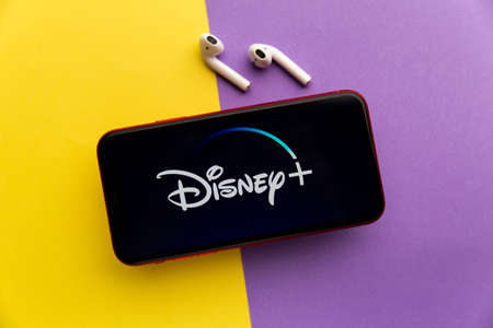 Tula, Russia - November 11, 2020: Disney+ logo on iPhone display Sajtókép