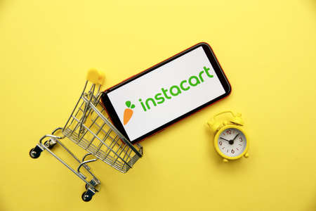 Tula, Russia - January 28, 2020: Instacart logo on iPhone display Editorial