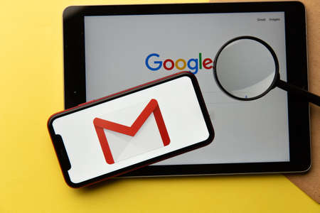 Tula, Russia - January 26, 2021: Google search and Gmail logo on a screen of apple products