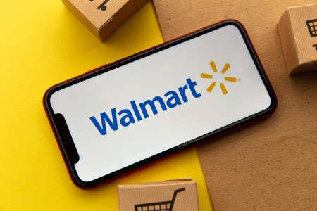 Tula, Russia - January 26, 2021: Walmart logo on iPhone display