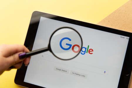 Tula, Russia - January 26, 2021: Google logo on iPad display