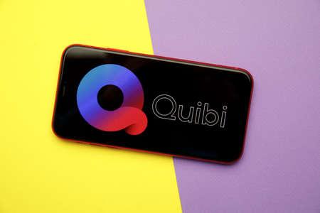 Tula, Russia - January 28, 2020: Quibi logo on iPhone display