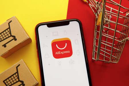 Tula, Russia - January 28, 2020: Aliexpress app logo on iPhone display