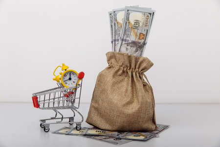 Dollar money bag and a shopping cart. Loans and microloans concept 版權商用圖片