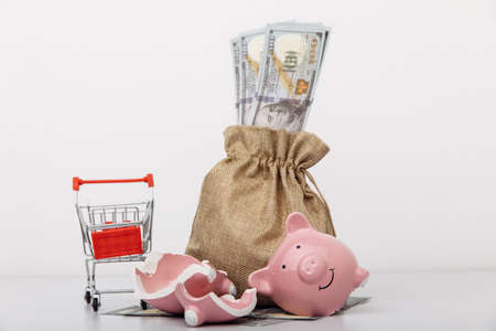 Broken piggy bank with money bag and shopping cart on white background 版權商用圖片