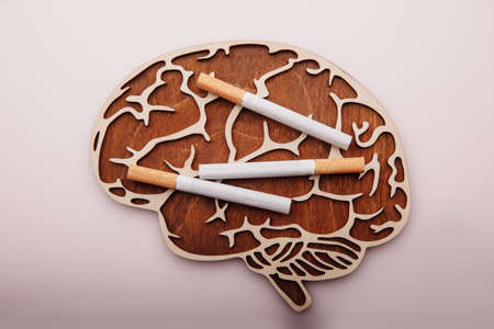 Wooden brain and cigarettes