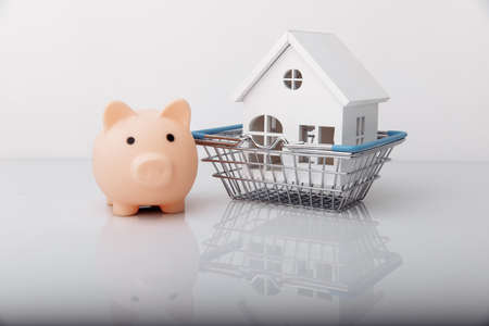 Piggy bank and house model in shopping basket 版權商用圖片