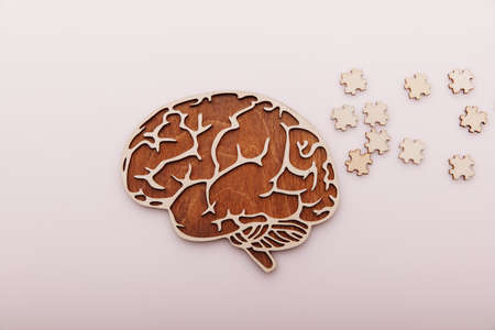 Alzheimers disease and mental health concept. Brain and wooden puzzle on a desk 版權商用圖片