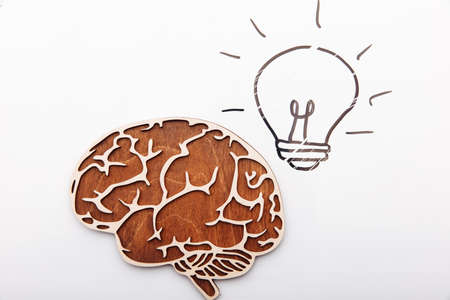 Idea solution concept, brain and light bulb on a white background