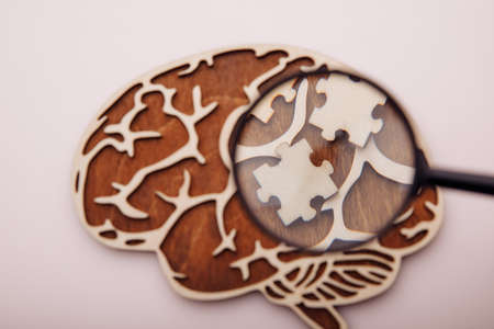 Model of brain and wooden puzzles on a pink background. Mental Health and problems with memory concept 版權商用圖片