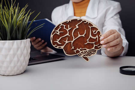 Doctor holding wooden model of the brain. Healthcare and early diagnosis concept