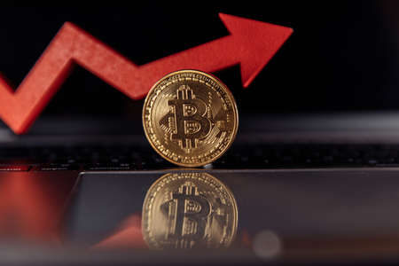 Bitcoin and growth arrow on laptop. Cryptocurrency. The rise in the value of bitcoin Фото со стока
