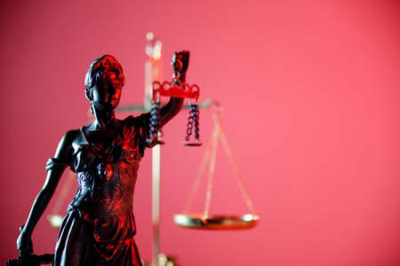 Statue of Lady Justice in notary office. Symbol of justice and law