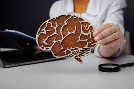 Doctor holding wooden brain. The importance of early diagnosis concept