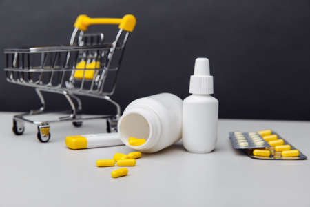 Shopping trolley with compounded prescription medications and medical tools 版權商用圖片