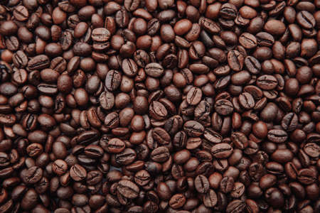 Scattered roasted coffee beans