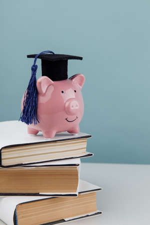 Pink piggy bank in cap on stack of books. College, graduate, education concept. Vertical image 版權商用圖片