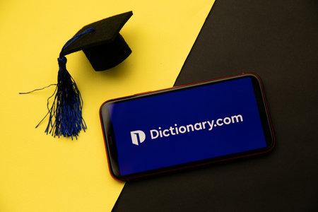 Tula, Russia - April 08, 2021: Dictionary.com logo on iPhone display