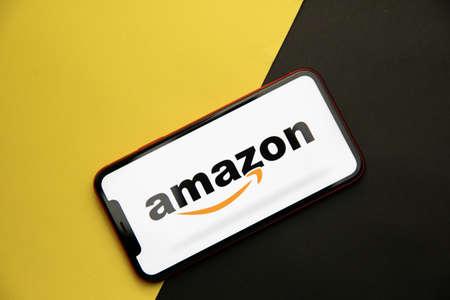 Tula, Russia - April 08, 2021: Amazon logo on iPhone display