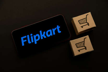 Tula, Russia - April 08, 2021: Flipkart logo on iPhone display