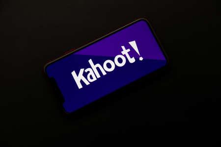 Tula, Russia - April 08, 2021: Kahoot! logo on iPhone display