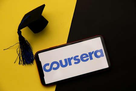 Tula, Russia - April 08, 2021: Coursera logo on iPhone display 新聞圖片