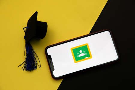 Tula, Russia - April 08, 2021: Google classrom logo on iPhone display