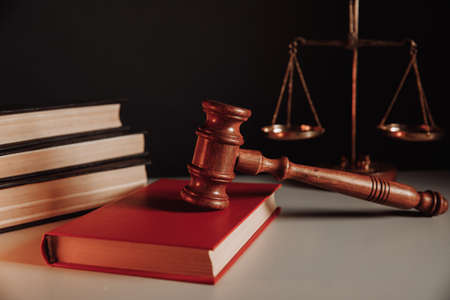 Law concept. Gavel on book
